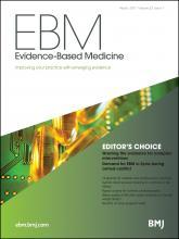 Evidence Based Medicine: 22 (1)